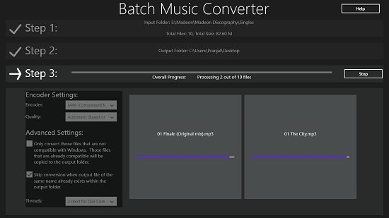 Batch Music Converter Conversion Running