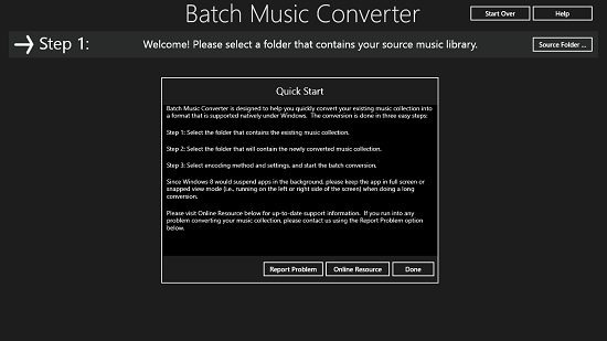 Batch Music Converter Main Screen