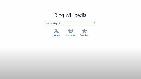 Bing Wikipedia main screen