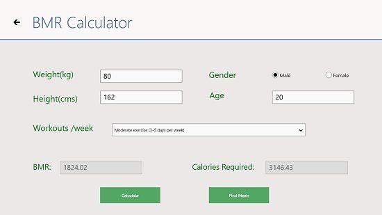 Health Mantra BMR Calculation screen