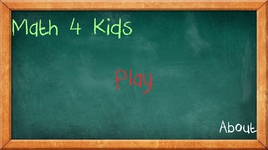 Math 4 Kids main screen