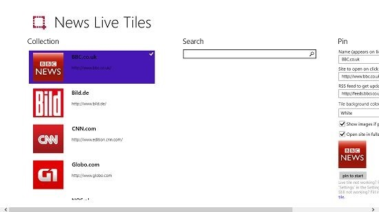 News Live Tiles news sources