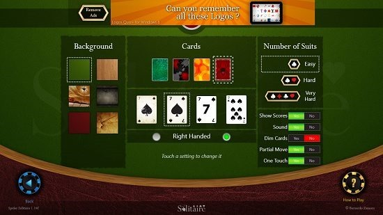 Spider Solitaire HD Settings