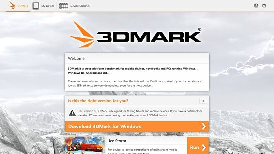 3DMark Main Screen