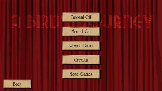 A Bird's Journey Options menu