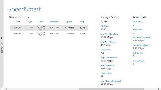 SpeedSmart Result history