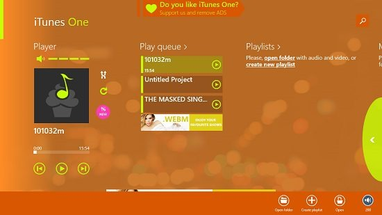 iTunes One main screen