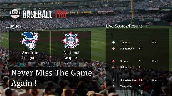 Baseball Pro main screen