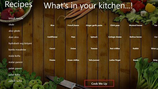 Cook Me Up main screen
