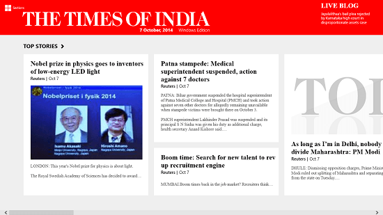 The Times Of india main screen
