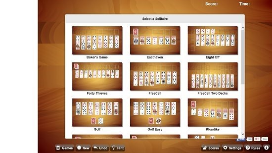 Universal Solitaire main screen select game type