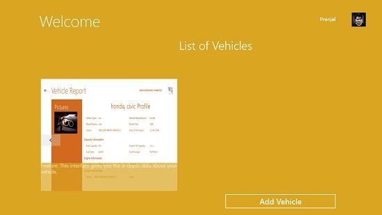 Vehicle Maintenance Scheduler main screen