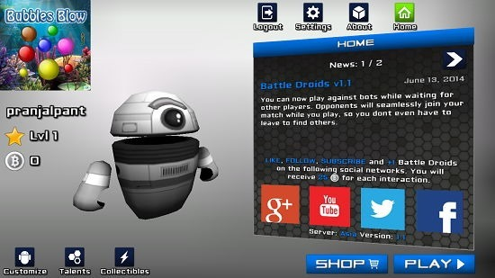 Battle Droids Start Game screen and intro
