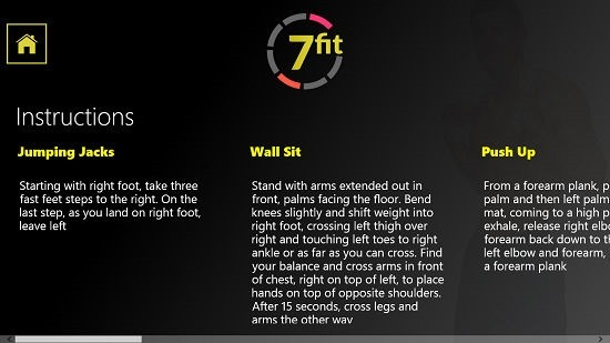 Fit in 7 instructions for exercises