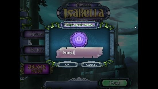 Princess Isabella A Witch's Curse Main screen