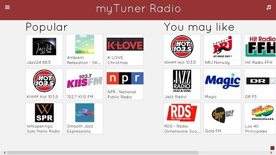 myTuner Radio main screen