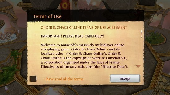 Order & Chaos Online Terms