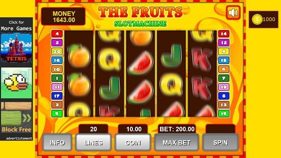 Fruit Slot Machine spinning in progress