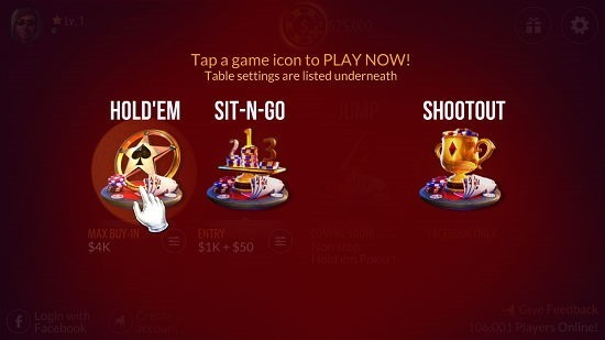 Zynga Poker - Texas Holdem select game type