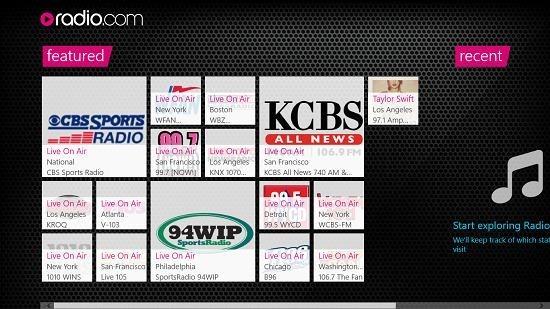 radio.com main screen