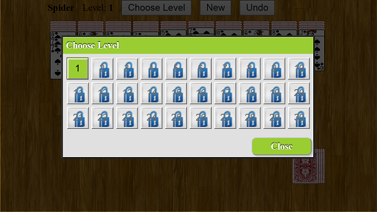 Spider Solitaire    choose level