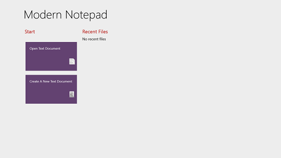 Modern Notepad Main Screen