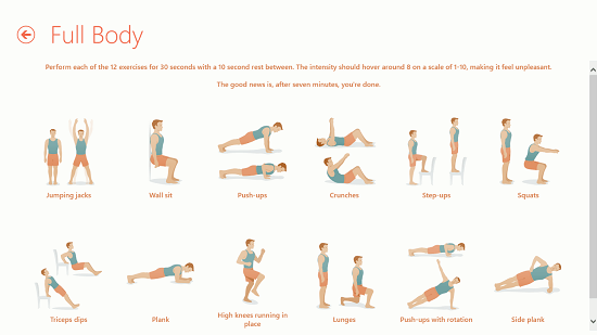 Seven - 7 Minute Workout Challenge exercises involved