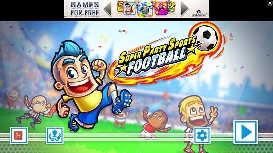 Super Party Sports Football main screen
