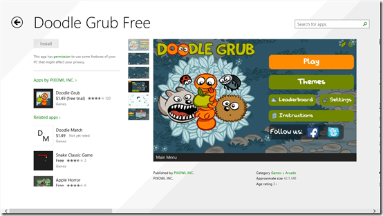 Free Arcade Game For Windows 8: Doodle Grub