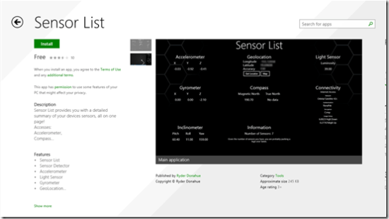 Windows 8 sensor app