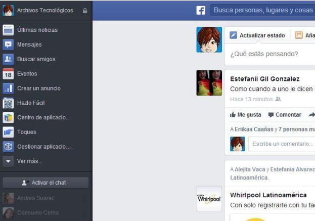 02 nueva interfaz de Facebook
