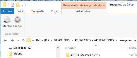 Montar imagenes de Disco en Windows 10