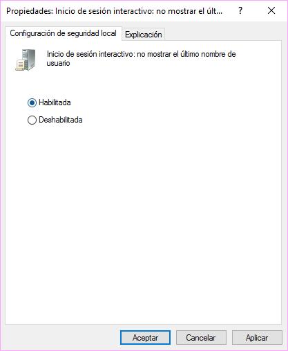 Nombre de usuario en Windows 10