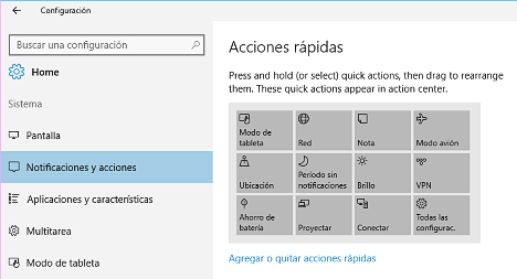Centro de Notificaciones en Windows 10