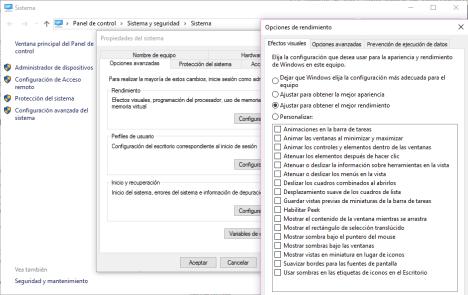 Efectos visuales en Windows 10