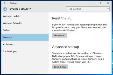 Estado de fabrica en Windows 10