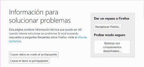 Acelerar Firefox restableciendolo