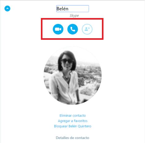 Detalles del Contactos en Skype Web