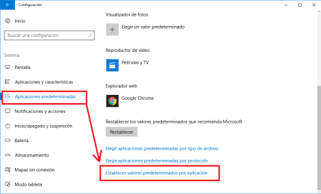 Aplicaciones predeterminadas en Windows 10