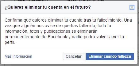 eliminar cuenta de Facebook despues de morir