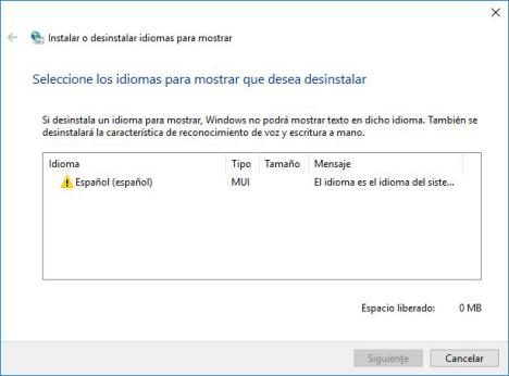 Eliminar Idiomas para Actualizar Windows 10