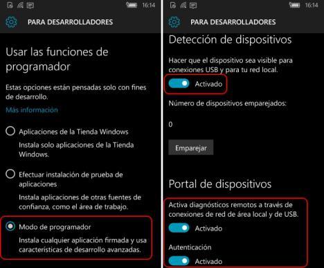 Windows 10 Creators Modo de desarrolador