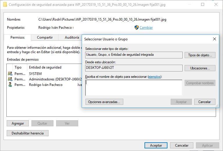 Permisos en Archivos bloqueados de Windows