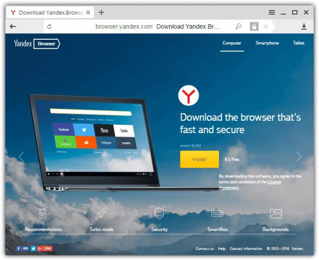 Yandex como Alternativas a Chromium