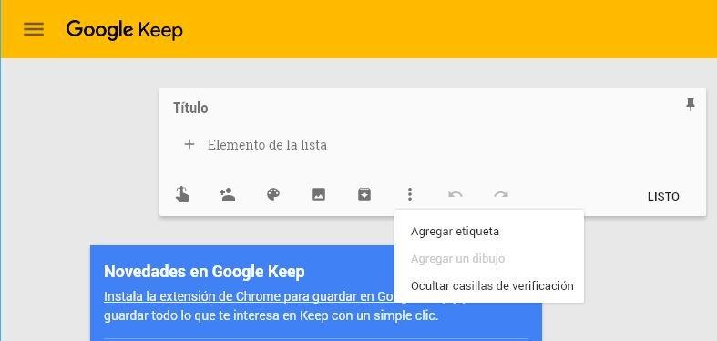 Google Keep de Android en Google Chrome de Windows 10