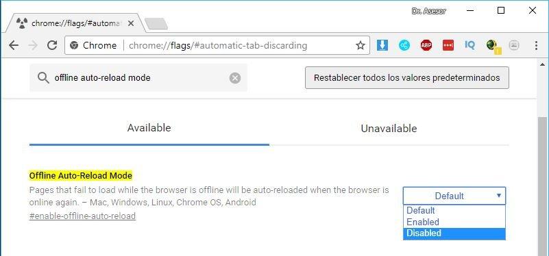 Detener recarga en Google Chrome