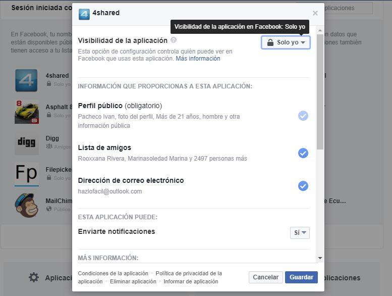 restringir notificaciones en juegos de Facebook