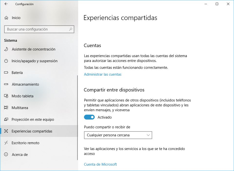 Windows 10 Build 1803 Experiencias Compartidas