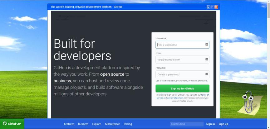 GitHub con pantalla de Windows XP