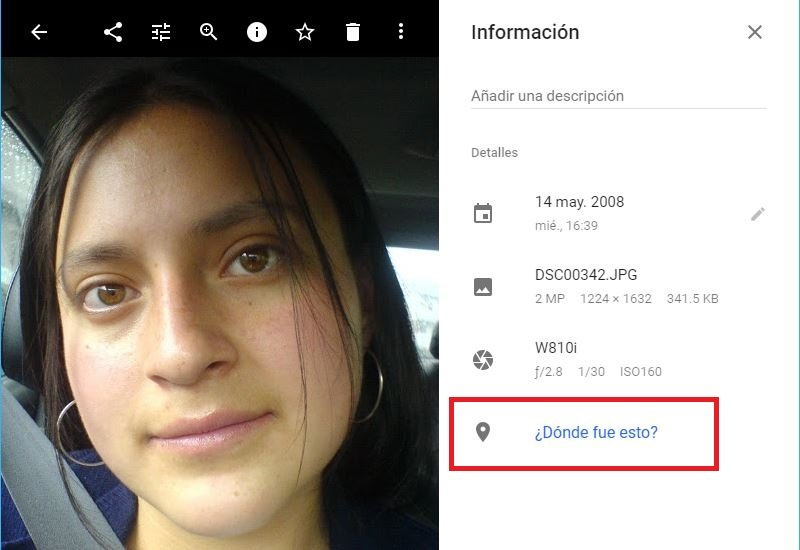 cambiar ubicacion en fotos de Google Photos